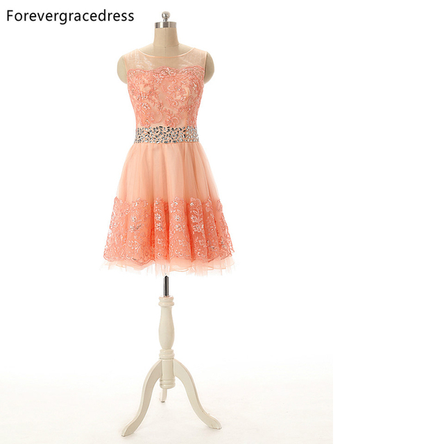 ce925e27bb3 Forevergracedress 2018 Coral Colour Prom Dress Sexy Beaded Crystal Lace  Short Formal Gown Plus Size Custom Made