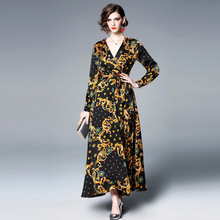 ARiby 2019 Spring and Summer Women Dress Vintage V-neck Long Sleeve Sashes Slim Received Waist Print A-Line Ankle-Length Dress купить недорого в Москве