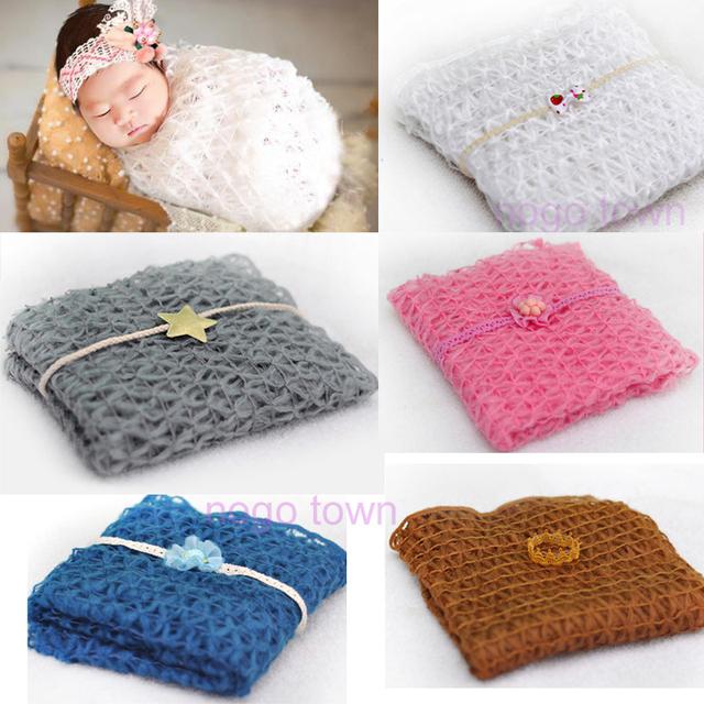 Conjunto fotografia Bebê Recém-nascido Headband + Wraps Wraps Mohair Bebe Fotografia Fotos Paralos Poses Bebe Bebê Swaddle Cobertor de Malha