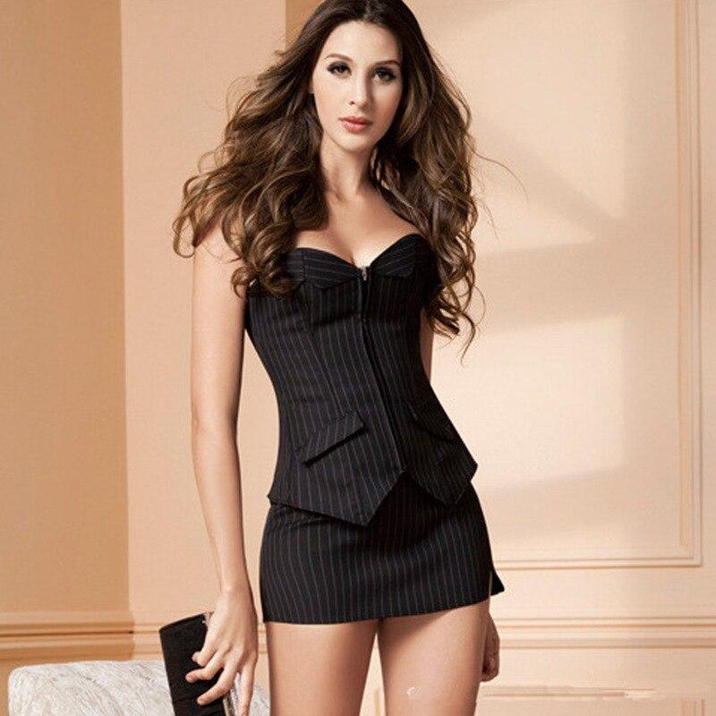 4e933399ea5c2 Sexy Corset Dress with Zipper Black stripes Shape Body Slim Bustiers Suit  Overbust Costume Burlesque Corsets Sexy Lingerie Plus