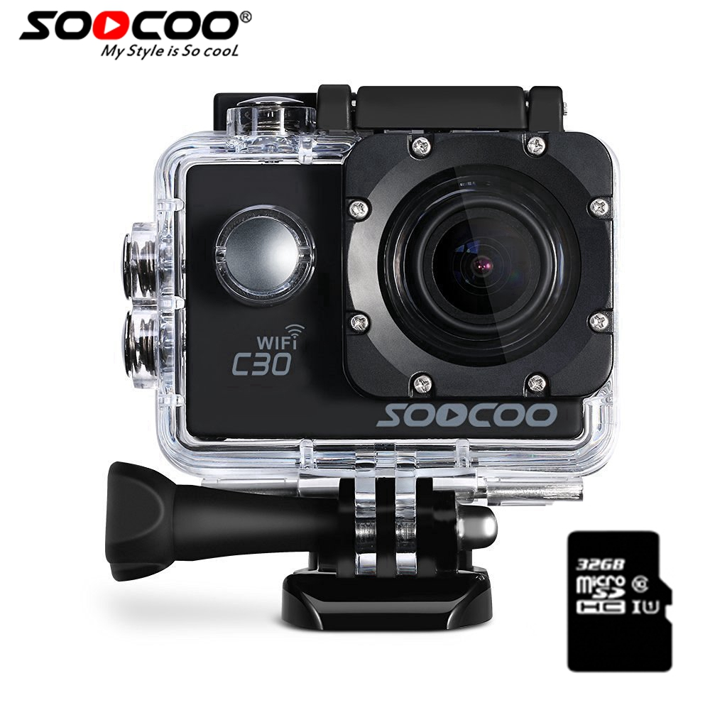 SOOCOO C30 Action 4K Sports Camera & 32GB SDcard NTK96660 Waterproof Wifi Gyro 70-170 Degrees Adjustable Action Cam soocoo c30 sports action camera wifi 4k gyro 2 0 lcd ntk96660 30m waterproof adjustable viewing angles