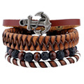 4pcs 1 Set Leather Bracelets Men For Women Charm Anchor Bracelets Volcanic Stone + Wood Beads Beaded Bracelet Cuff Jewelry