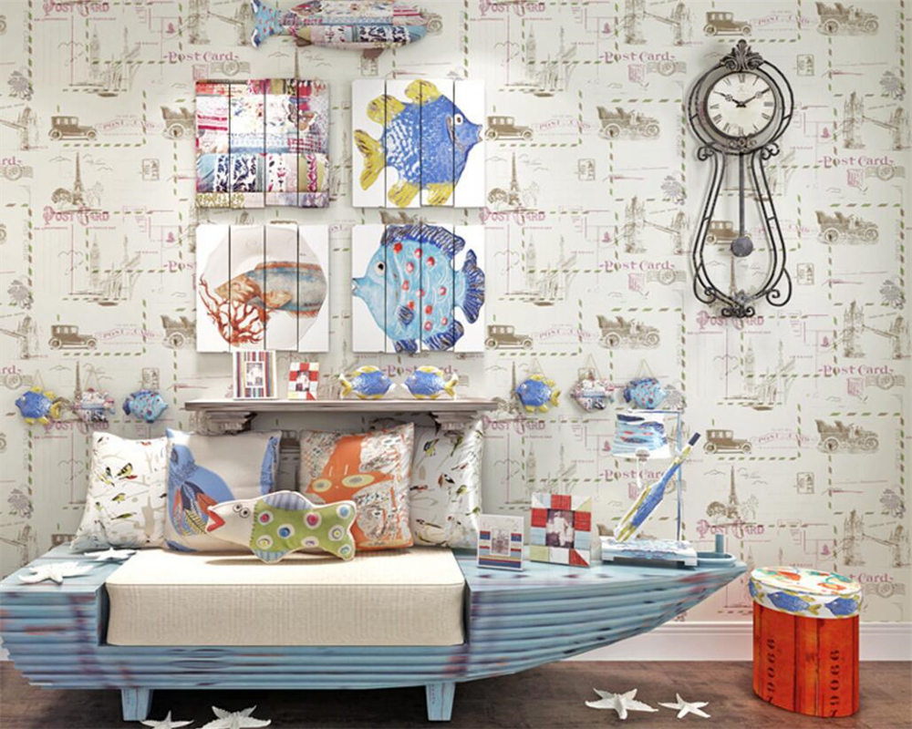 Beibehang Fashion english wind cartoon plain paper 3D wallpaper ...