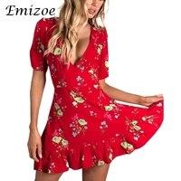 Emizoe Sexy impressão floral chiffon mulheres vestido de verão 2018 Boho ruffle v neck vestido curto feminino vestido de festa Vermelho elegante
