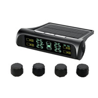 1Pcs Car TPMS Tire Pressure Monitoring System Solar Charging VA HD Digital LCD Display Auto Alarm System Wireless With Sensor