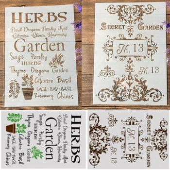 2Pcs/Lot A4 Flower Words Garden DIY Craft Layering Stencils Painting Scrapbooking Stamping Embossing Album Paper Template