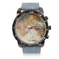 Карта Наручные часы Женщины Мужчины Часы Ремешок Вокруг 1075 Denim Кожа Водонепроницаемость