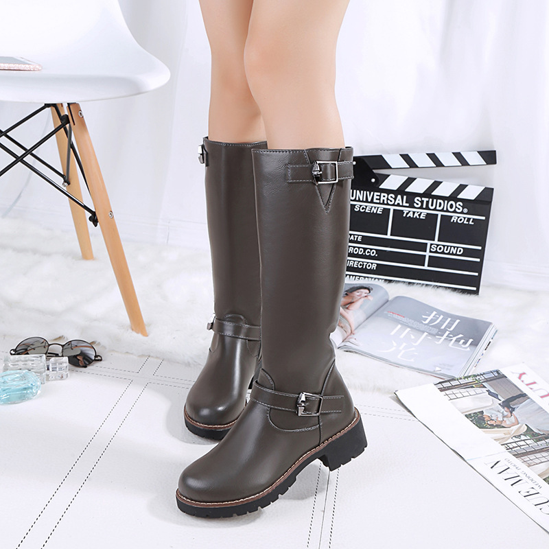 Wonderful New Womens Fashion Buckle Side Zipper Flat Heel Riding
