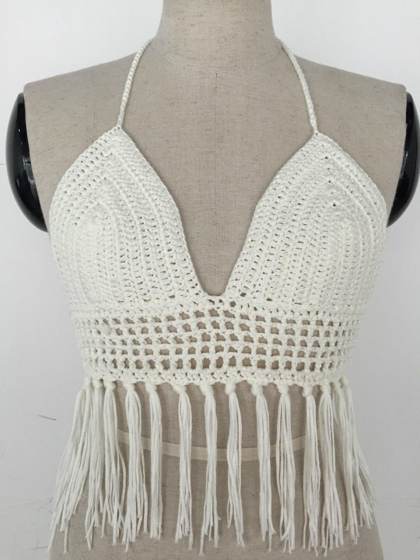Mujer verano Boho sexy tassel crochet crop tops CAMI Halter handmake ...