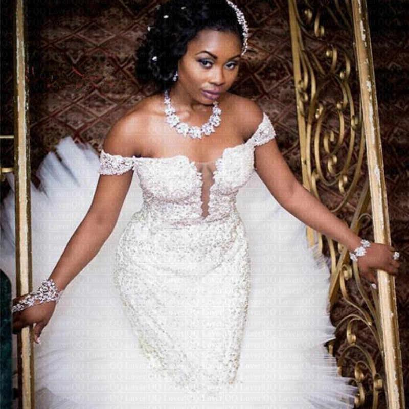 2019 Amazing คอ Ruffles Mermaid งานแต่งงานชุดแอฟริกาไนจีเรียที่กำหนดเองชุดเจ้าสาว
