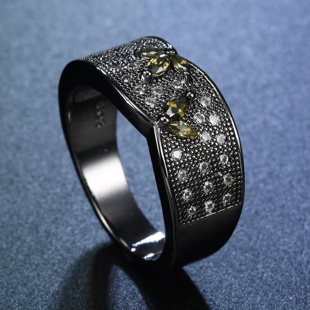 Elegant Cubic Zirconia Stone Pave Black Rings For Women ...