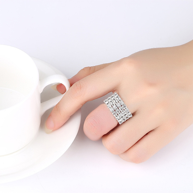 High Quality 2018 New Anti Allergy Full Drill Ring Ring Classic Adjustable Silver Ring