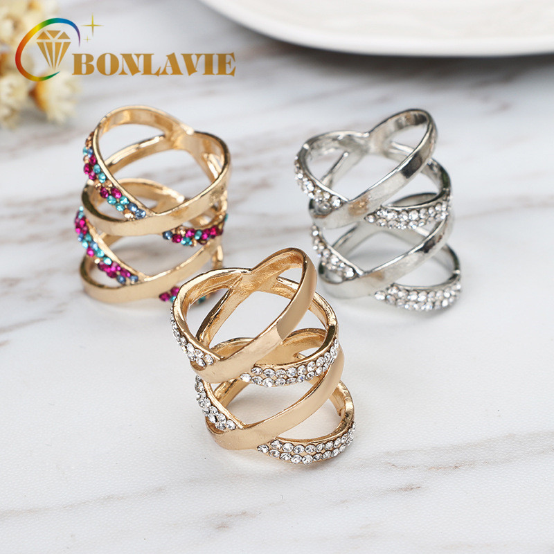 2018 Newest Korean Style Multilayer Crystal Hollow Cross Index Finger Rings
