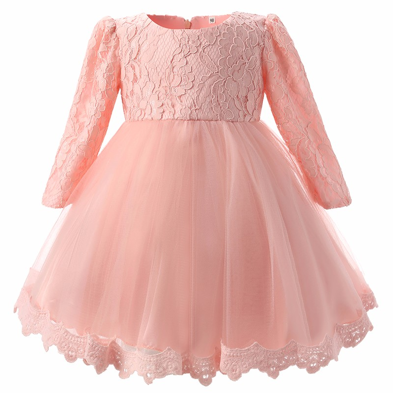 HTB1Ek6yNXXXXXcMXVXXq6xXFXXXg - Autumn Baby Girl Dress Long Sleeve Pink White Infant Dress For Baptism Christening First Birthday Party Toddler Girls Clothes