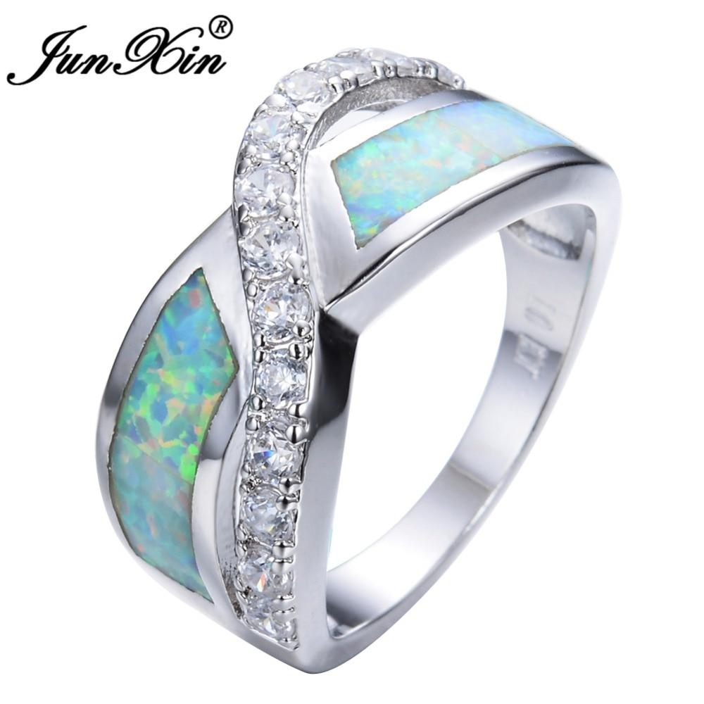 Junxin Синий/Белый огненный опал крест Promise Ring Роскошные Цирконий свадебное Кольца для Для женщин Модные украшения подарок на день матери