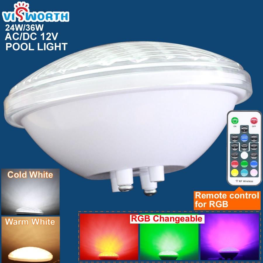 Visworth 12 V AC/DC par56 LED Piscina LED 24 W 36 w IP68 luces de estanque RGB + Remote controlador caliente/frío blanco luz subacuática