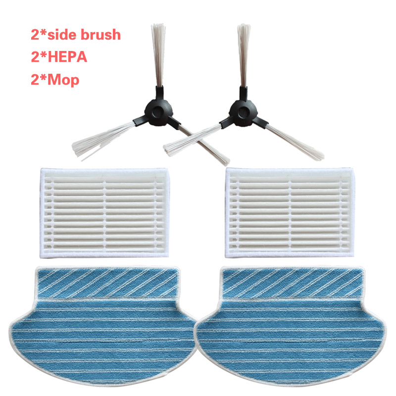 2* Side Brush + 2* Filter + 2*mop Kit For Midea VCR15 VCR16 Robot Vacuum Cleaner Parts