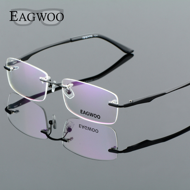 b11da40252d Aluminum Alloy Rimless Optical Frame Prescription Men Eyeglasses Frameless  Glasses Reading Light Business Spectacle 8303203