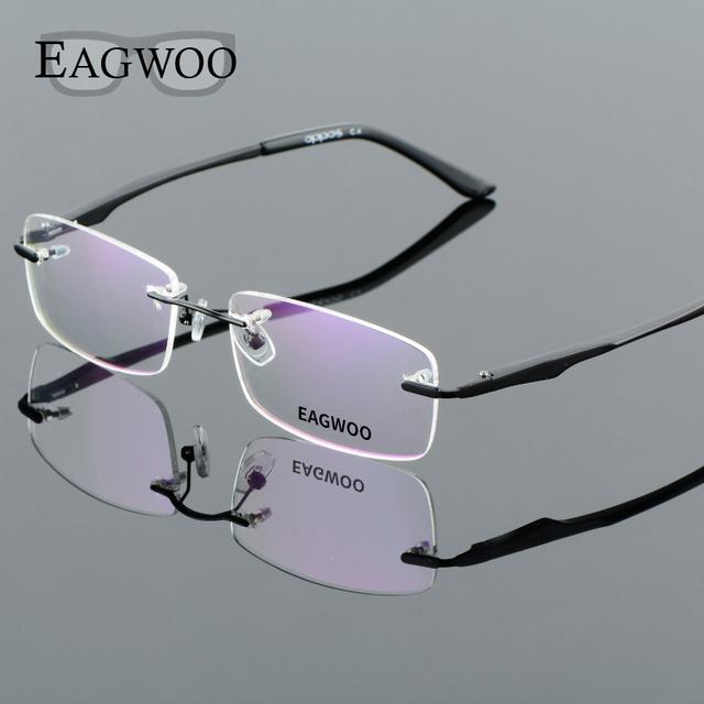 Liga de alumínio Luz Frameless Óculos de Leitura Sem Aro Homens Óculos de Prescrição Frame Ótico Espetáculo de Negócios 8303203
