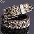 Estampado de leopardo moda feimu mujeres de rhinestone correa de mujer correa de hebilla de la decoración del diamante