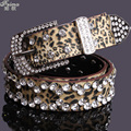 Fashion leopard print feimu women's rhinestone belt a strap women's pin buckle diamond decoration belt