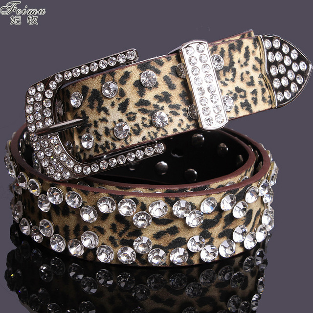 Moda leopard mulheres feimu strass cinto de mulheres pin fivela de cinto decoração diamante