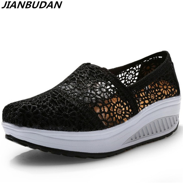 JIANBUDAN lightweight breathable womens shoes 2020 new fashion summer Sneakers Hollow platform wedge Fitness shoes 35 40 size