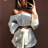 Sexy Off Shoulder Cropped Top Tees Women Rivet 2017 Autumn Flare Sleeve T Shirt Tube Top