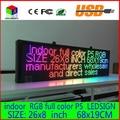 26X8 polegadas P5 interior cheio de cor LEVOU exibição de rolagem de texto Vermelho laranja verde azul branco amarelo e azul LED billboard sinal aberto