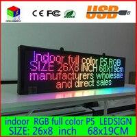 26X8 pouces LED enseigne publicitaire P5 intérieure pleine couleur LED affichage défilement texte Rouge vert bleu blanc jaune et bleu panneau