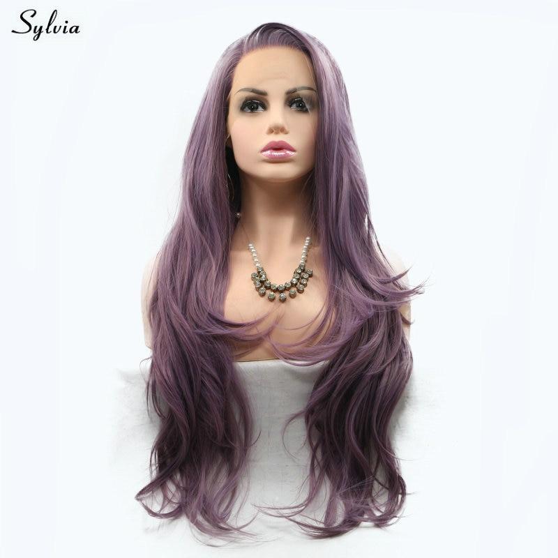 Sylvia hög temperatur rök lila peruk kroppsvåg syntetisk kant fram - Syntetiskt hår