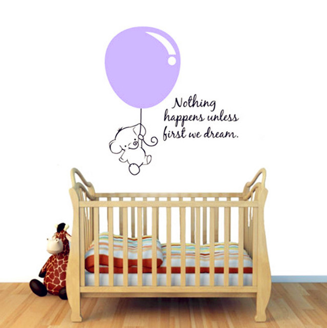 Cute Elephant Wall Stickers Baby Pulled Balloon Decals Bedroom Art Decor Personalized