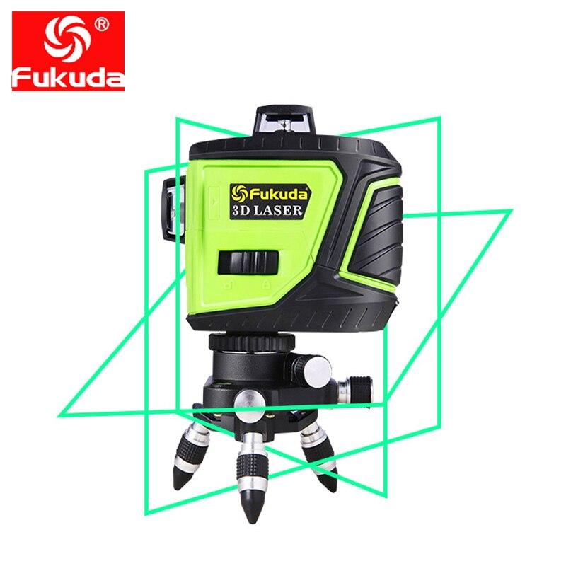 Fukuda marque 12 lignes 3D 3GX niveau Laser auto-nivelant 360 croix horizontale et verticale faisceau Laser vert Super puissant