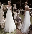 Sexy  Backless Beach Wedding Dress Spaghetti Strap AppliqueTulle Bridal Gowns Boho Plus Size Wedding Party Gown Sweep Train
