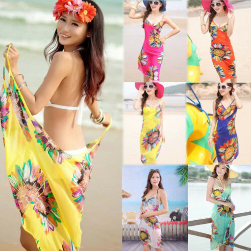 RED ROSES ALL OVER DESIGN MEDIUM LENGTH CHIFFON SARONG SWIMWEAR BEACH WRAP
