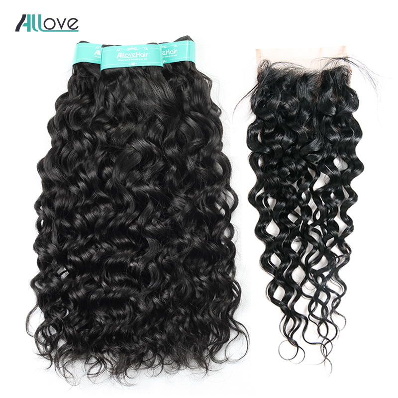 Allove Peruvian Hair Bundles With Closure 4Pcs Lot Water Wave Bundles With Closure Remy Human Hair