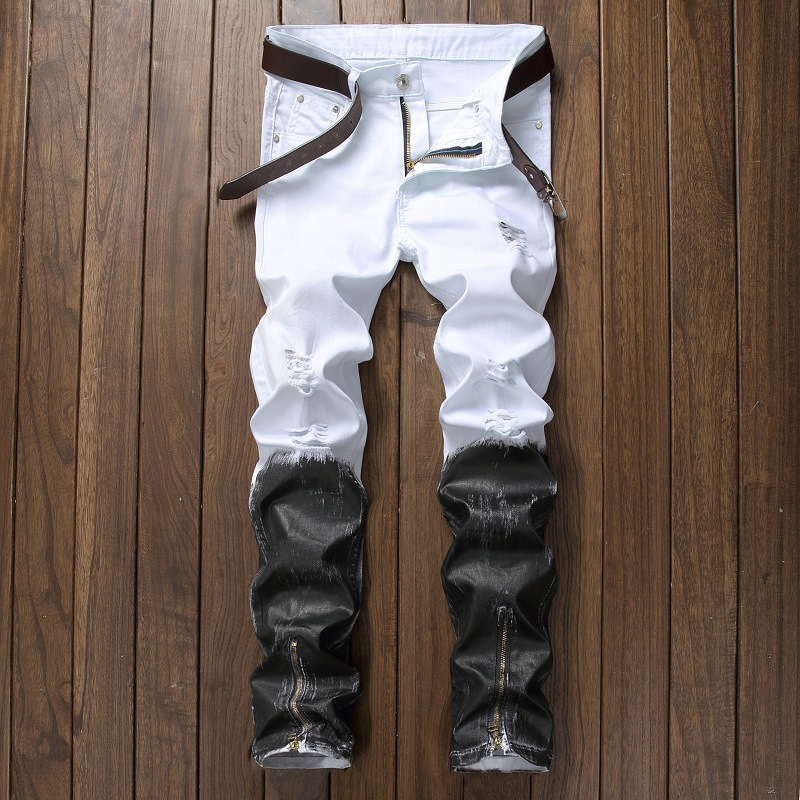 Mens Jeans Straight Ripped Jeans For Men Zipper Fly Denim Jeans Men Fashion Designer Pants Black White Jean Male