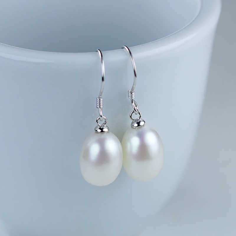 a5adb4734 ... BaroqueOnly 925 Sterling silver Freshwater Pearl Earrings Natural Pearl  Drop Shape Jewelry Wedding Gift Earrings For ...
