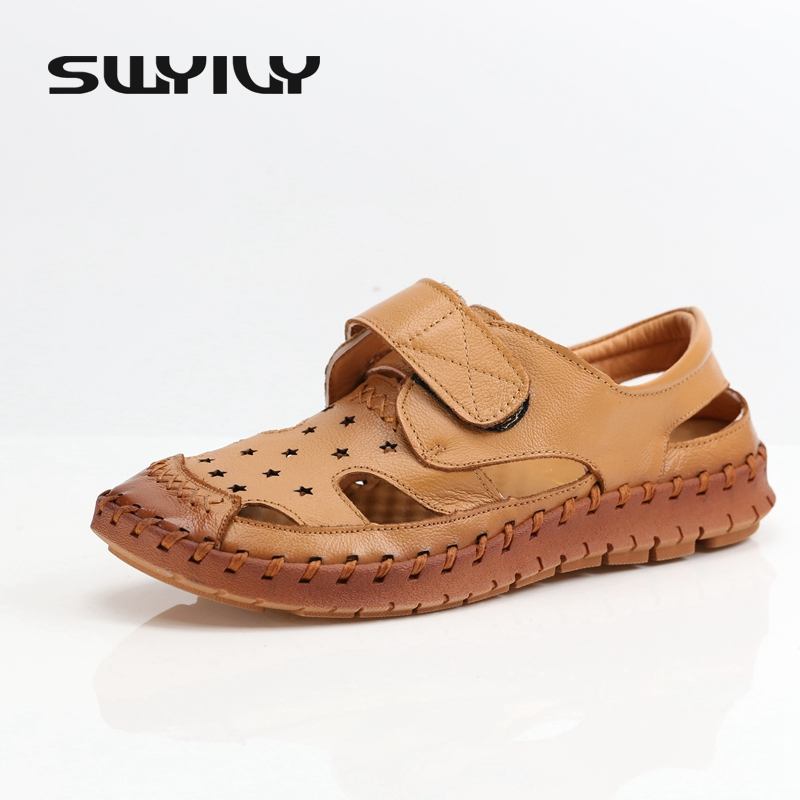 40 Big Size Soft Bottom Breathable Leather Hole Shoes For Women 2017 Summer New Old-age Non-slip Comfort Female Sandals