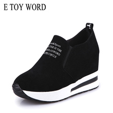 E TOY WORD Women Sneakers Autumn Casual Shoes slip-on black/Red Platform Comfortable Height Increasing shoes basket femme