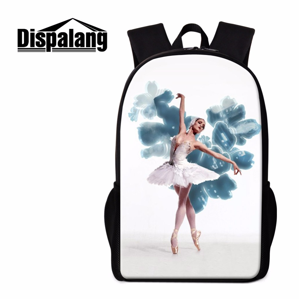 Dispalang Cute Rucksack School Backpack Ballet Toe Shoes Violin Prints Shoulder Back Pack Bag 16 Inch Custom Children School Bag