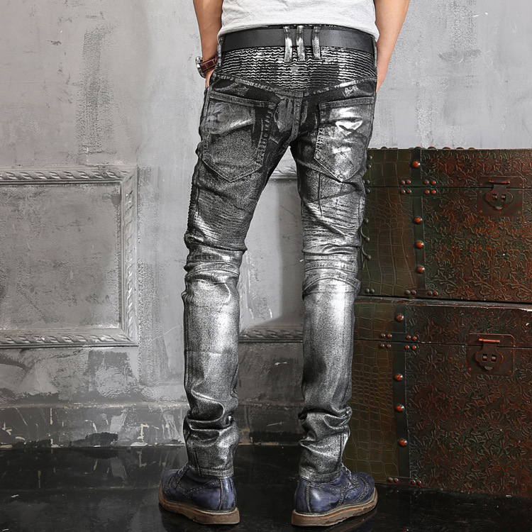 Aliexpress.com : Buy 98% Cotton Plus Size Coated Mens Silver Jeans