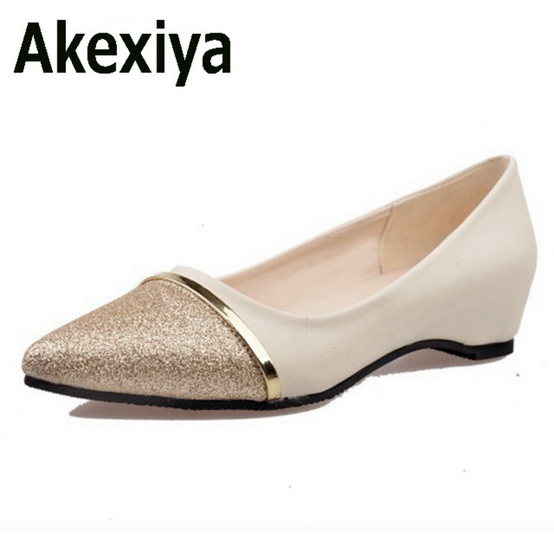 Akexiya Spring Fashion Women Shoes Pointed Toe Slip-On Flat Shoes Woman Comfortable Single Casual Flats Size 35-39 zapatos mujer 2017 new fashion spring ladies pointed toe shoes woman flats crystal diamond silver wedding shoes for bridal plus size hot sale