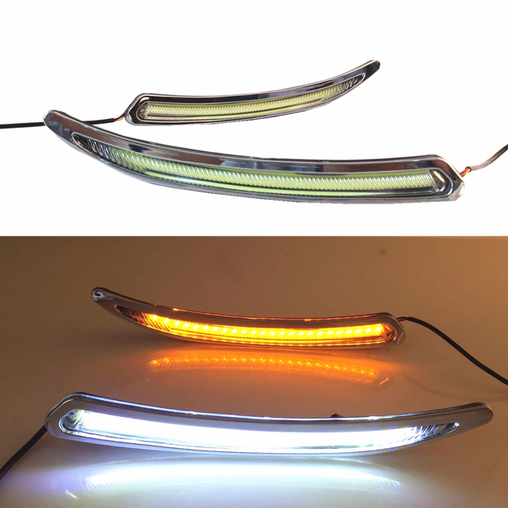 For 2010-2014 Buick Regal GS LED Daytime Running Light DRL Fog Lamp Cover DRL With Yellow Turn Light система освещения buick regal