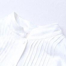 De Mode D'été Jacquard Bureau Chemisier Élégant À Manches Longues Blanc Chemise Plus La Taille Lâche Femmes Tops BZJ00101