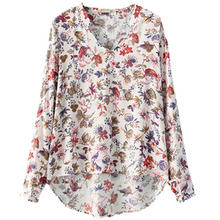 2017 NEW Vintage Floral Print Women Blouses Fashion Print Autumn V-Neck Polyester Lady Tops Women Shirts