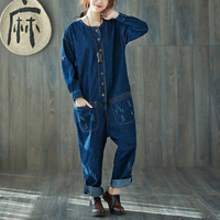Winter Women's Casual Loose Jeans Jumpsuits Pockets Denim Cargo Pants Vintage Overalls BF Style Button Drop Crotch Denim Rompers