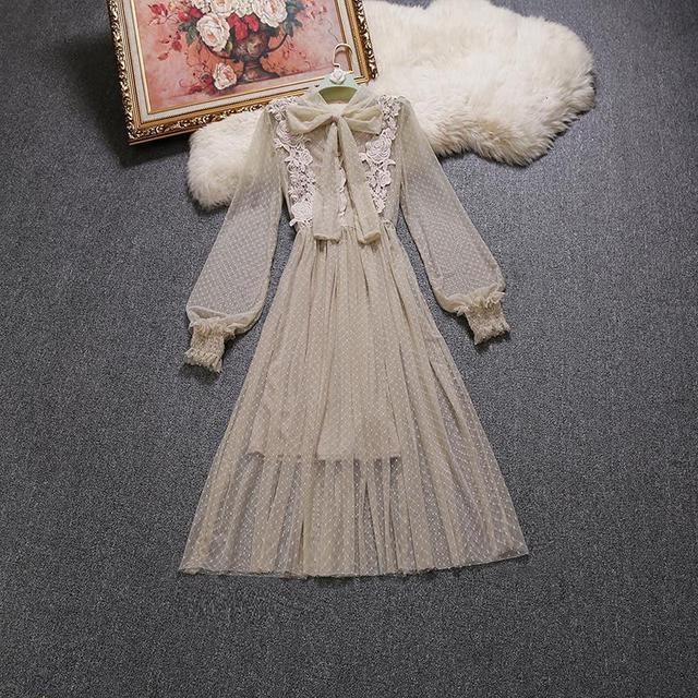 2017 Autumn winter new female sweet gauze lace bow tie long section pleated dress women's waist slim full dress two pcs chrimas