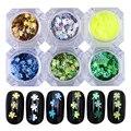 6 Boxes Clover Glitter Paillette Ultra-thin Nail Sequins Manicure Nail Art Decoration 6 Colors