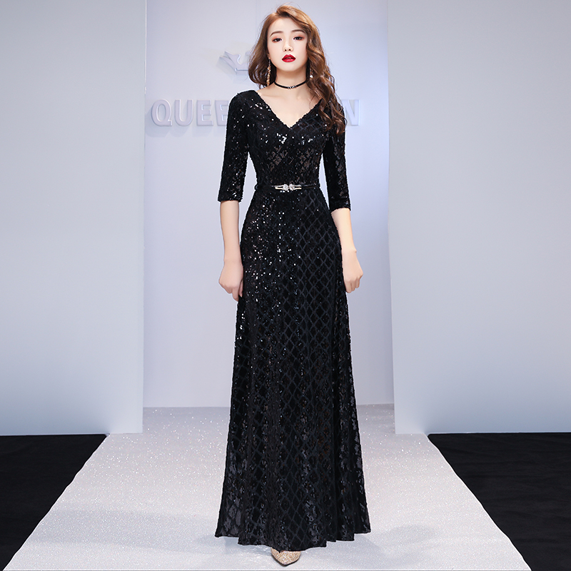 2019 New Formal   Evening     Dresses   V Neck Long Black Sequin Wedding-Guest Party 2019 Maxi   Evening   Gown   Dress   LYFY113